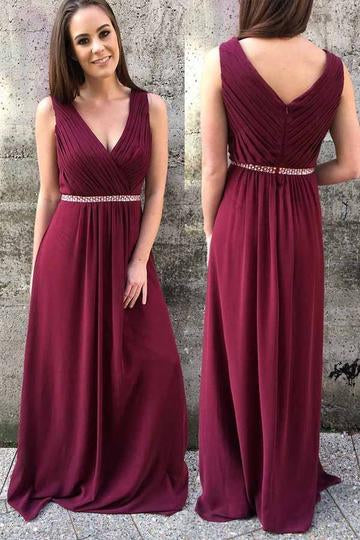 Burgundy Modest Chiffon A line 8th Grade Formal Prom Dress,GDC1221