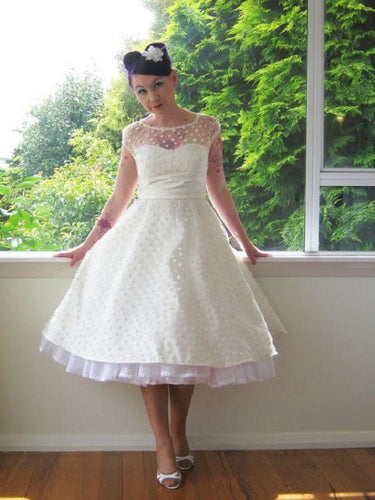 Cap Sleeved 1950s Style Tea Length Polka Dots Wedding Dress,20081907