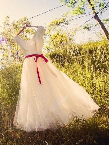 Cap Sleeved Short Country Style Wedding Dress, 50s Style Tea Length Wedding Dress,20110947-Dolly Gown