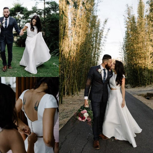 Casual Wedding Skirt and Top, Two Piece Simple Bridal Separates, Affordable Crop Top Wedding Dress,20082686
