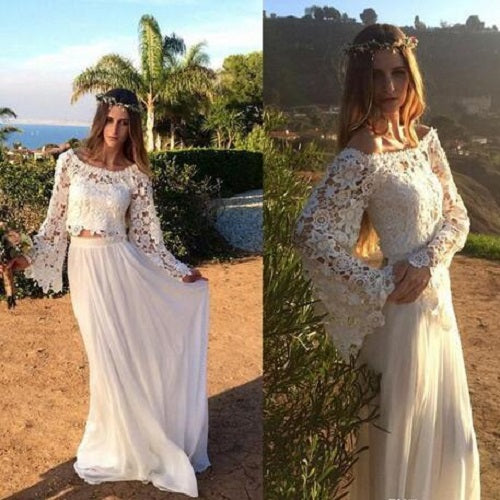 Casual Beach Trumpet Lace Sleeves 2 piece Bridal Separates,Boho two Piece Wedding Dress,200082683