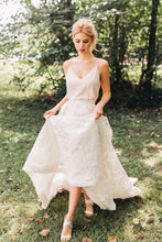 Casual Boho Long Two Piece Lace Crop Top Wedding Dress with Spaghetti Straps,20081510-Dolly Gown