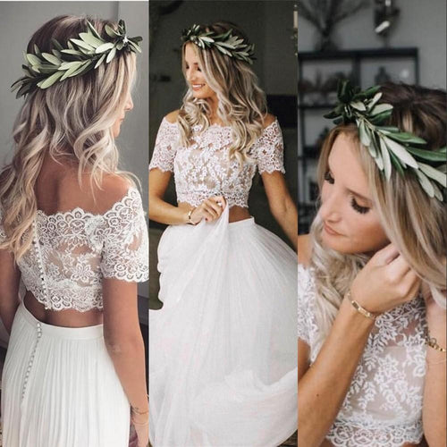 Casual Flowy Short Sleeve Lace Crop Top Two Piece Wedding Dress Bridal Separates,20082205-Dolly Gown