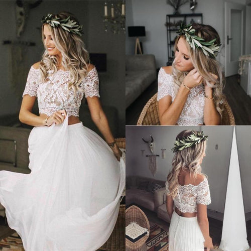 Casual Flowy Short Sleeves Lace Crop Top Two Piece Wedding Dress Bridal Separates,20082205