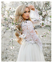 Casual Short 2 Piece Wedding Dress with Lace Top, Bridal Separates with Tulle Skirt,20082685