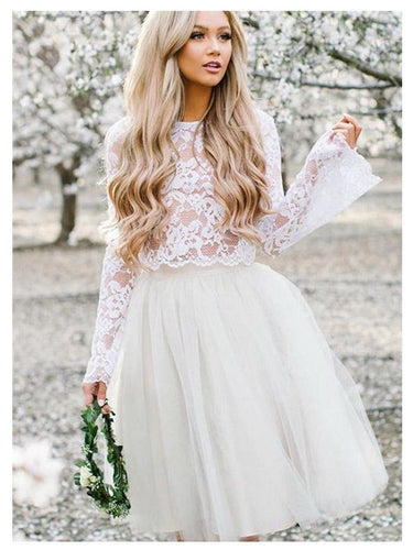 Casual Short Two Piece Wedding Dress with Lace Top, Bridal Separates with Tulle Skirt,20082685