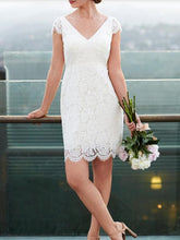 Cap Sleeves Short Wedding Dress Casual Lace Simple Short Bridal Gown,20082003-Dolly Gown
