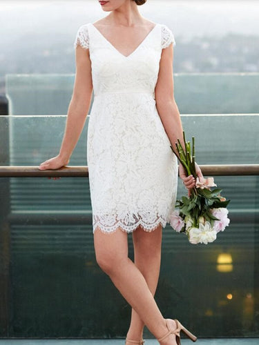 Casual Short Lace Cap Sleeved Wedding Dress,Simple Short Bridal Gown,20082003