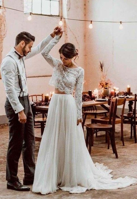 Casual Style Long Sleeve Lace Crop Top Boho Two Piece Wedding Dresses,081512