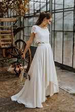 Casual Cap Sleeves Two Piece Lace Crop Top Boho wedding dress with Chiffon Skirt,081507-Dolly Gown