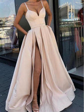 Champagne Discount Stylish Satin Long Prom Dress with Pockets,GDC1201