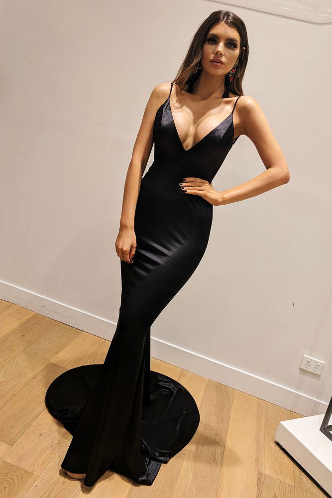 Charming Black Bodycon Plunge V neck Spaghetti Straps Long Mermaid Prom Formal Graduation Dress,20081627