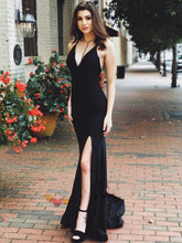 Charming Black Jersey Bodycon Formal Prom Dress with Slit Cross Straps Back,20081628-Dolly Gown