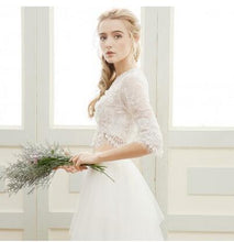 Charming Boho Long Sleeved Lace Crop Top Bridal Separates with Tulle Skirt,20082225