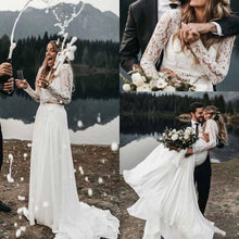 Long Sleeve Bridal Separates Lace Top, Affordable Two Piece Wedding Dress with Chiffon Skirt,20082667-Dolly Gown