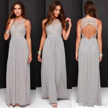Cheap Open Back Lace Top Gray Bridesmaid Dresses Long,FS075-Dolly Gown