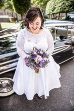 Cheap Tea Length Plus Size Wedding Dress with 3/4 Sleeves, 1950s Vintage Gown,20111553-Dolly Gown