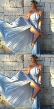 Cheap Blue Flowy Side Slit Halter Prom Gown,Simple Occasion Dress,GDC1147