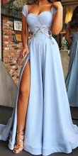 Cheap Blue Side Slit Long A Line Prom Dress with Cap Sleeves,GDC1062
