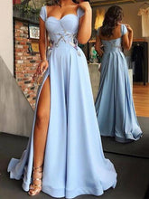 Cheap Blue Side Slit Long A Line Prom Dress with Cap Sleeves,GDC1062-Dolly Gown