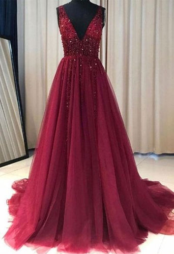 Cheap Red Prom Dress Tulle Lace Appliques V neck Prom Gown Wedding Party Dress,18021605-Dolly Gown