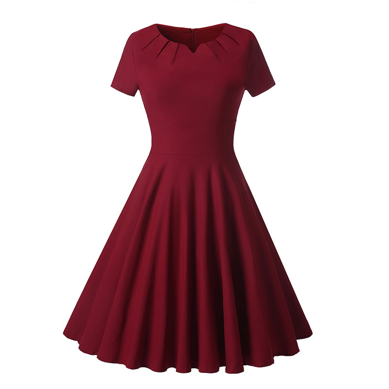 Cheap Vintage Short Burgundy Modest Bridesmaid Dresses with Short Sleeves,1539B-Dolly Gown