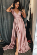 Chic Blush Pink Prom Dress,V neck Wedding Party Dress,GDC1240