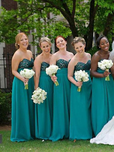 Chic Teal Long Bridesmaid Dresses Strapless A-line Bridesmaid Gowns,GDC1014