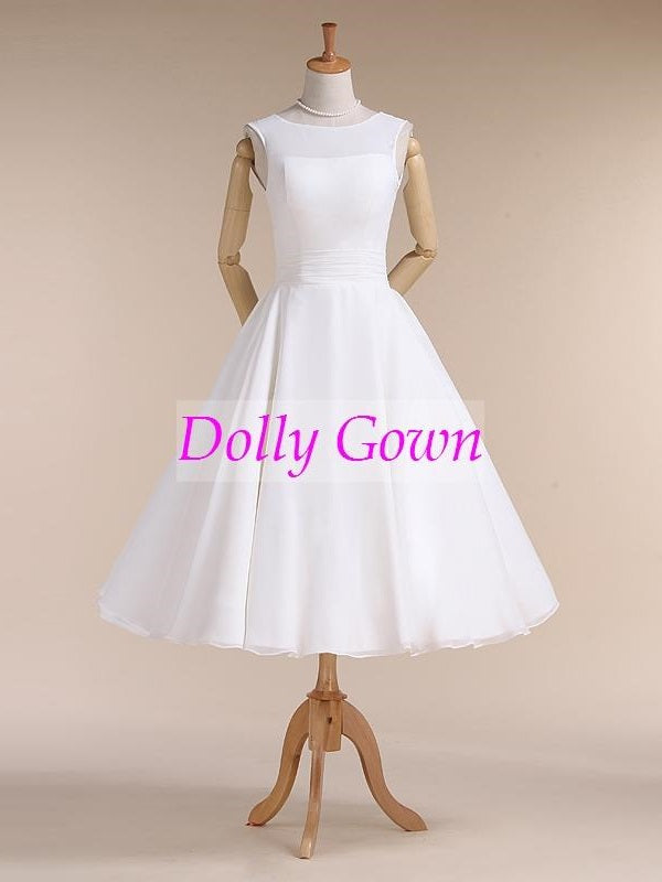 Chiffon Jewel Neck Vintage Style 50s Tea Length Wedding Dress for Older Brides over 40-Dolly Gown