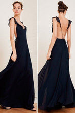 Chiffon Backless Navy Blue Prom Dress,Long Senior Formal Dress,GDC1324