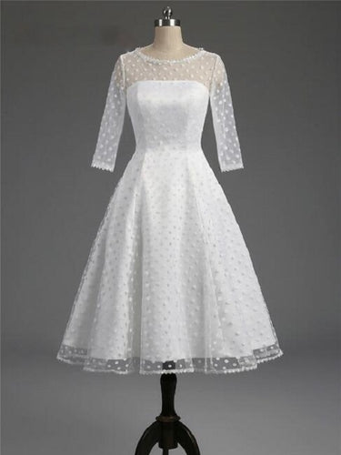 Polka Dot White Short Wedding Dress with Sleeves,1950s Pin Up Bridal Gown,20101603
