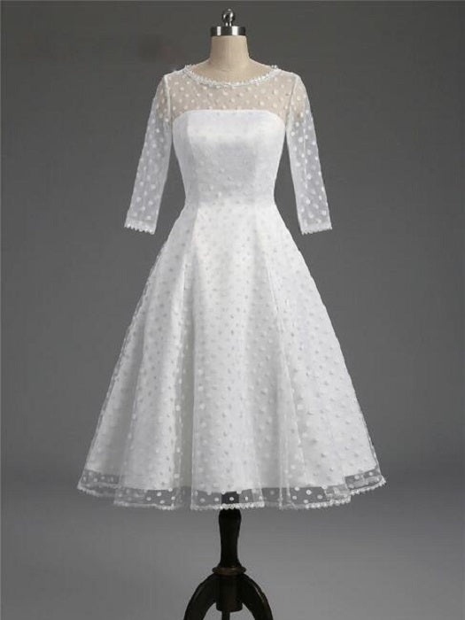 Classic Polka Dot White Short Wedding Dress with Sleeves,1950s Pin Up Bridal Gown,20101603