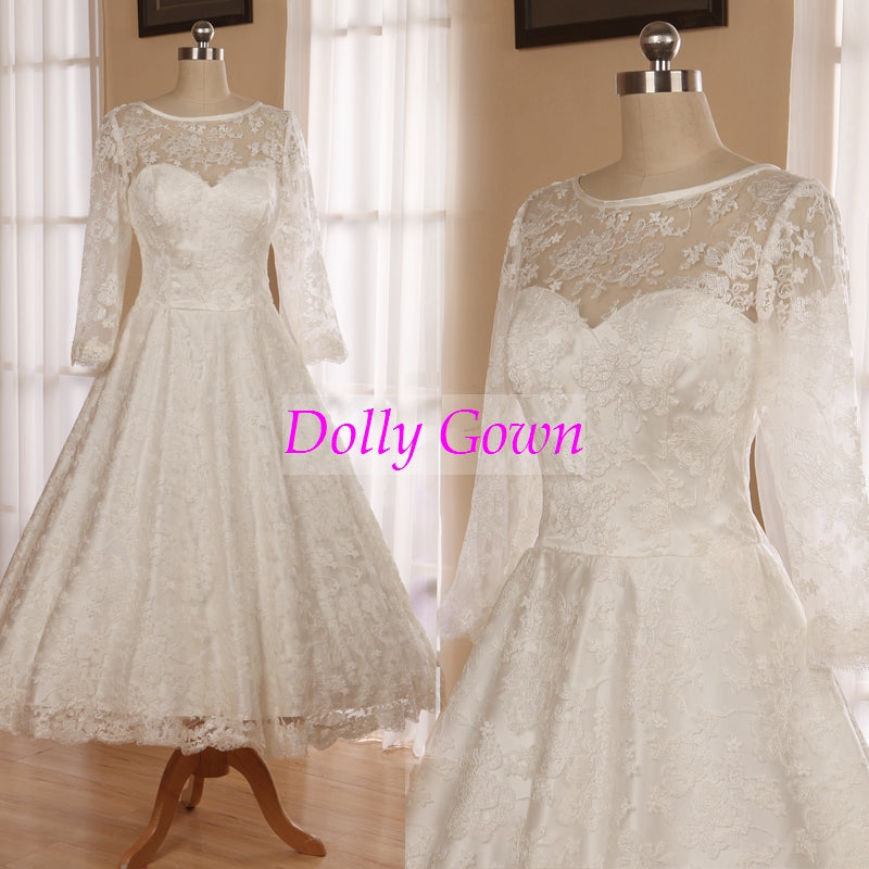 Classic Vintage 1950s Tea Length Lace Wedding Dress with Sleeves,Audrey Hepburn Wedding Dress,DO021-Dolly Gown