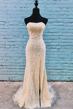 Classy Gold Lace Appliques Long Strapless Prom Dress with Side Slit,20081607