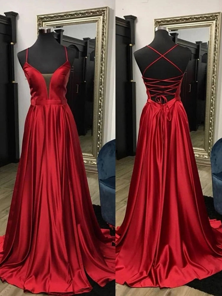 Classy Prom Dress, Red Prom Dress, Backless Prom Dress,20081618-Dolly Gown