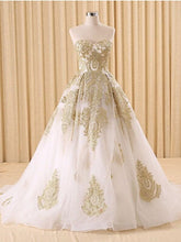Classy Strapless Lace Gold Wedding Dress Ball Gown Wedding Dress Fs020