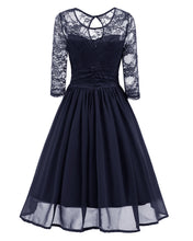 Classy Modest Navy Blue Lace Short Prom Dress with Sleeves,Blue Party Dress,1581N