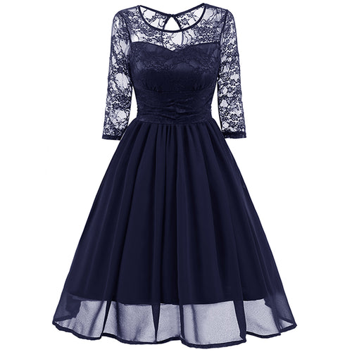 Classy Modest Navy Blue Lace Short Prom Dress with Sleeves,Blue Party Dress,1581N-Dolly Gown
