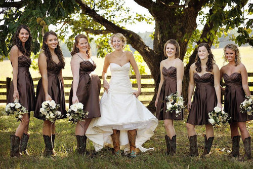 Coffee Color Short Country Style Strapless Bridesmaid Dresses with Boots,20081825
