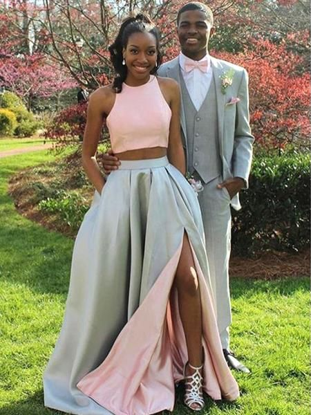 Contrast Color Halter Long Two Piece Prom Dress with Side Slit and Pockets,20081908