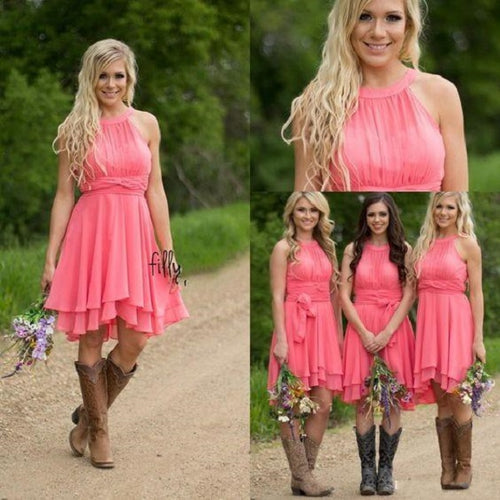 Coral Short Bridesmaid Dresses with Boots,Watermelon Bridesmaid Dresses,FS094