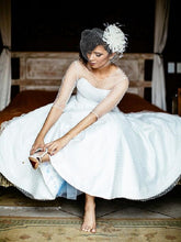 Country Style 1950s Short Wedding Dress Tea Length Polka Dots Full Circle Bridal Gown,20110123