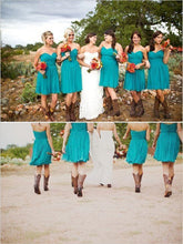 Country Style Blue Short Bridesmaid Dresses with Boots,20082009