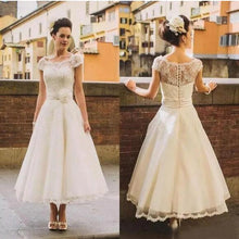 Country Style Cap Sleeves 50s Lace Tea Length Wedding Dress,Rockabilly Pinup Bridal Gown,20082212-Dolly Gown