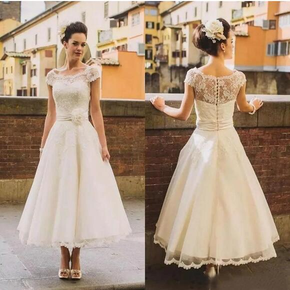Country Style Cap Sleeves 50s Lace Tea Length Wedding Dress,Rockabilly Pinup Bridal Gown,20082212