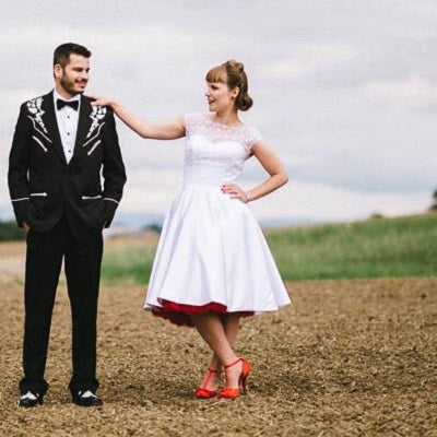Country Style Cap Sleeves Polka Dot Tea Length 50s Style Wedding Dress,20110639