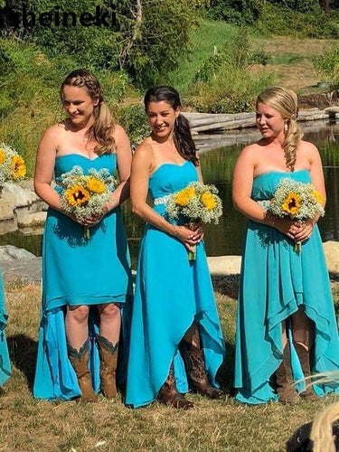 Country Style Hi-Lo Strapless Bridesmaid Dress with Boots,20081635-Dolly Gown