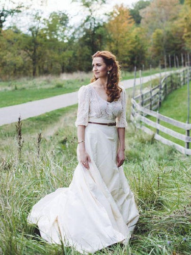 Country Style Loose Crop Top Wedding Dress Bridal Separates with Sleeves,20082344-Dolly Gown