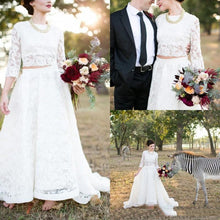 Country Style Modest Lace Long Sleeve Lace Two Piece Wedding Dress, Bridal Separates Long Sleeve Top,20082690