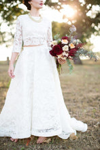 Country Style Modest Lace Long Sleeve Lace Two Piece Wedding Dress, Bridal Separates Long Sleeve Top,20082690-Dolly Gown